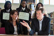© Licensed to London News Pictures. 06/03/2015. London, UK. Lynn Featherstone and Nick Clegg talk with students. Deputy Prime Minister and Leader of the Liberal Democrats NICK CLEGG  and Hornsey and Wood Green MP LYNNE FEATHERSTONE visit Hornsey School for Girls today, 6th March 2015, as part of the schools work surrounding International Women's Day (March 9th). They watched a presentation by pupils on FGM, visited a careers stand promoting careers where women are under-represented and took part in a Q&A about women in politics. Photo credit : Stephen Simpson/LNP
