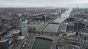 Aerial Photos of Dublin city Centre During Travel Restrictions, 3-4-20, 3rd March 2020, Covid 19, Friday Morning, Rush Hour, showing almost, Empty Streets, as people, curtail all but essential movment, Ireland, and Irish are doing thier best to reduce risk to others, liffey Photos, Photo, Snap, Streets, Street,