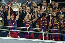 28.05.2011, Wembley Stadium, London, ENG, UEFA CHAMPIONSLEAGUE FINALE 2011, FC Barcelona (ESP) vs Manchester United (ENG), im Bild FC Barcelona's Lionel Messi lifts the European Cup trophy after completely outclassing Manchester United 3-1 during the UEFA Champions League Final at Wembley Stadium, EXPA Pictures © 2011, PhotoCredit: EXPA/ Propaganda/ Chris Brunskill *** ATTENTION *** UK OUT!