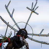 080615  Adron Gardner/Independent<br /> <br /> An Apache Crown dancer performs at the McKinley County Courthouse in Gallup Thursday.