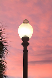 street light with red sky