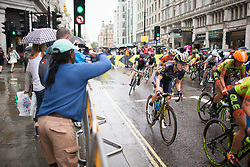 \graelv of \oric accelerates out of a corner in the second lap of the Prudential Ride London Classique - a 66 km road race, starting and finishing in London on July 29, 2017, in London, United Kingdom. (Photo by Balint Hamvas/Velofocus.com)