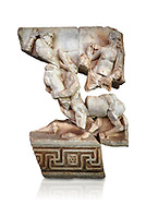 Roman Sebasteion relief  sculpture of Herakles or Hercules, Nessos and Deianira Aphrodisias Museum, Aphrodisias, Turkey.     Against a white background.<br /> <br /> The centaur Nessos agreed to carry Herakles' (Hercules) wife Deianira across the river Euenos in Aitolia but tried to rape her in mid-stream. I the struggle that followed we see Herakles about to deliver a crushing blow with his club. Nessos has been beaten to her knees but is still fighting. Behind the centaur is the partly disrobed figure of Deianira .<br /> <br /> If you prefer to buy from our ALAMY STOCK LIBRARY page at https://www.alamy.com/portfolio/paul-williams-funkystock/greco-roman-sculptures.html . Type -    Aphrodisias     - into LOWER SEARCH WITHIN GALLERY box - Refine search by adding a subject, place, background colour, museum etc.<br /> <br /> Visit our ROMAN WORLD PHOTO COLLECTIONS for more photos to download or buy as wall art prints https://funkystock.photoshelter.com/gallery-collection/The-Romans-Art-Artefacts-Antiquities-Historic-Sites-Pictures-Images/C0000r2uLJJo9_s0