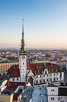 Rooftop view from Church of Saint Maurice to Horni Nam sqaure and Olomoucká radnice - Town Hall building, Olomouc, Czech Republic