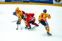 Timotej Kocar vs Stefano Marchetti during Alps League Ice Hockey match between HDD SIJ Jesenice and Migross Supermercati Asiago Hockey on April 17, 2021 in Ice Arena Podmezakla, Jesenice, Slovenia. Photo by Peter Podobnik / Sportida