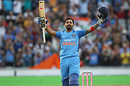 KL Rahul celebrates his 100 during the International T20 match between England and India at Old Trafford, Manchester, England on 3 July 2018. Picture by George Franks.