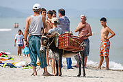 A fruit trader brought his fruits loaded on a donkey to sell them along the beach of Durres as Albanian vacationers are seen enjoying a sunny day on Saturday, July 4, 2009. (Photo by Vudi Xhymshiti)