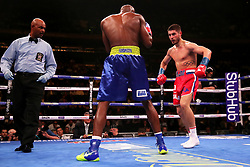 Josh Kelly (right) in action against Ray Robinson in the WBA International Welterweight title fight at Madison Square Garden, New York.
