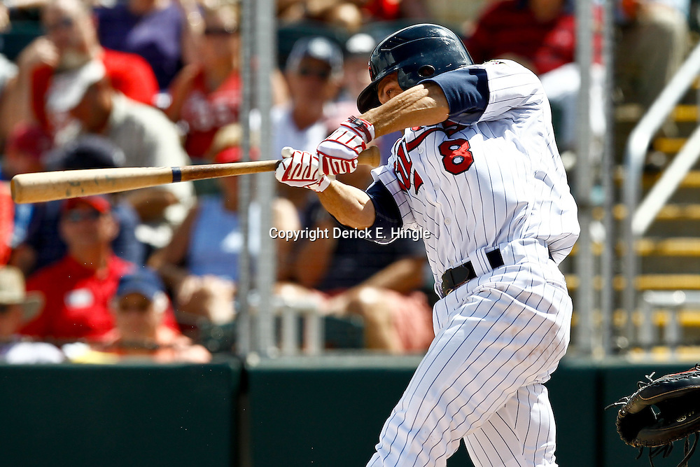 March 9, 2011; Ft. Myers, FL, USA; Minnesota Twins shortstop Jamey Carroll (8) against the St. Louis Cardinals before a spring training game at Hammond Stadium. Mandatory Credit: Derick E. Hingle-US PRESSWIRE