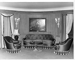 Interior shots of Aristotle Onassis's yacht Christina photographed in 1956.<br /> Picture shows The lounge.  The painting is Greenland Whale Fishery by A.Van Salm dated 1650.<br /> <br /> <br /> NON EXCLUSIVE - WORLD RIGHTS