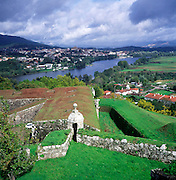 View across River Minho to Spain from fortress town of Valença do Minho, Portugal
