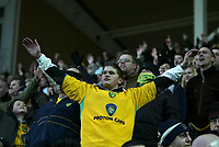 Photo: Andrew Unwin.<br />Hull v Norwich City. Coca Cola Championship. 11/02/2006.<br />The Norwich Fans celebrate their late equaliser against Hull.