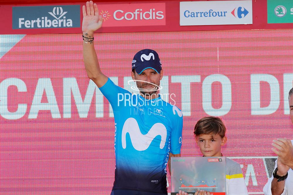 Podium, Alejandro Valverde (ESP - Movistar) winner during the UCI World Tour, Tour of Spain (Vuelta) 2018, Stage 2, Marbella - Caminito del Rey 163.5 km in Spain, on August 26th, 2018 - Photo Luis angel Gomez / BettiniPhoto / ProSportsImages / DPPI
