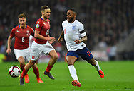 Raheem Sterling of England on the attack during the UEFA European 2020 Qualifier match between England and Czech Republic at Wembley Stadium, London, England on 22 March 2019.