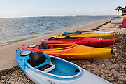 Colorful kayaks along the beach at Sea Pines Plantation on Hilton Head Island, SC