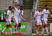 Blackpool's Matty Virtue celebrates scoring his side's second goal with teammates<br /> <br /> Photographer Alex Dodd/CameraSport<br /> <br /> The EFL Sky Bet League One - Bradford City v Blackpool - Saturday 23rd March 2019 - Valley Parade - Bradford <br /> <br /> World Copyright © 2019 CameraSport. All rights reserved. 43 Linden Ave. Countesthorpe. Leicester. England. LE8 5PG - Tel: +44 (0) 116 277 4147 - admin@camerasport.com - www.camerasport.com