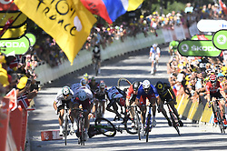 July 4, 2017 - Vittel, FRANCE - Great Britain Mark Cavendish of Dimension Data and Great Britain's Ben Swift of UAE Team Emirates felt while French Arnaud Demare of FDJ srints to win the fourth stage of the 104th edition of the Tour de France cycling race, 207,5 km from Mondorf-les-Bains, Luxembourg, to Vittel, France, Tuesday 04 July 2017. This year's Tour de France takes place from July first to July 23rd...BELGA PHOTO DIRK WAEM (Credit Image: © Dirk Waem/Belga via ZUMA Press)