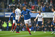 Portsmouth Midfielder, Gareth Evans (26) celebrates after scoring a goal to make it 1-1 during the EFL Sky Bet League 1 match between Portsmouth and Wycombe Wanderers at Fratton Park, Portsmouth, England on 22 September 2018.