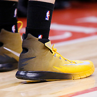 21 April 2014: Close view of Golden State Warriors guard Klay Thompson (11) shoes during the Los Angeles Clippers 138-98 victory over the Golden State Warriors, during Game Two of the Western Conference Quarterfinals of the NBA Playoffs, at the Staples Center, Los Angeles, California, USA.