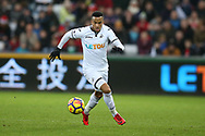 Martin Olsson of Swansea city in action. Premier league match, Swansea city v Crystal Palace at the Liberty Stadium in Swansea, South Wales on Saturday 23rd December 2017.<br /> pic by  Andrew Orchard, Andrew Orchard sports photography.