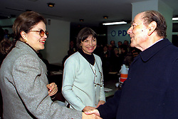 Dilma Rousseff, como Secretaria Estadual de Minas e Energia do Governo Olívio Dutra cumprimenta Leonel Brizola no Congresso Estadual do PDT realizado na Assembléia Legislativa do RS,no dia 12/06/1999. . FOTO: Sérgio Néglia/Preview.com