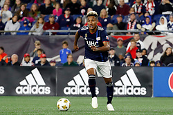 September 22, 2018 - Foxborough, MA, U.S. - FOXBOROUGH, MA - SEPTEMBER 22: New England Revolution forward Juan Agudelo (17) looks to move the ball wide during a match between the New England Revolution and the Chicago Fire on September 22, 2018, at Gillette Stadium in Foxborough, Massachusetts. The teams played to a 2-2 draw. (Photo by Fred Kfoury III/Icon Sportswire) (Credit Image: © Fred Kfoury Iii/Icon SMI via ZUMA Press)
