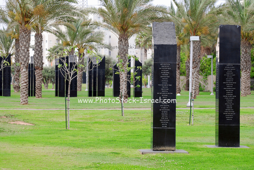 Israel, Tel Aviv, Yarkon park, Ganei Yehoshua, Israeli war memorial, each marble column contains the names of Tel Aviv soldiers who died in the wars. The columns are grouped by the year of death