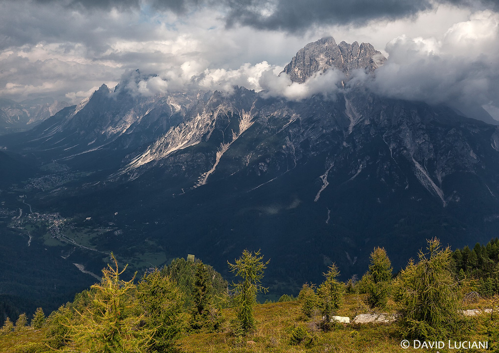 Monte Rite, seen from a viewpoint near the Messner Museum in Cibiana di Cadore.