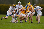 Leinster Minor Hurling - Shield Final at St Feckins GFC, 2nd April 2016<br /> Antrim vs Kildare<br /> Caolan Smith / Simon Leacy / Aran Kelly / Martin Moloney (Kildare) & Shane McGill / Diarmaid McShane (Antrim)<br /> Photo: David Mullen /www.cyberimages.net / 2016