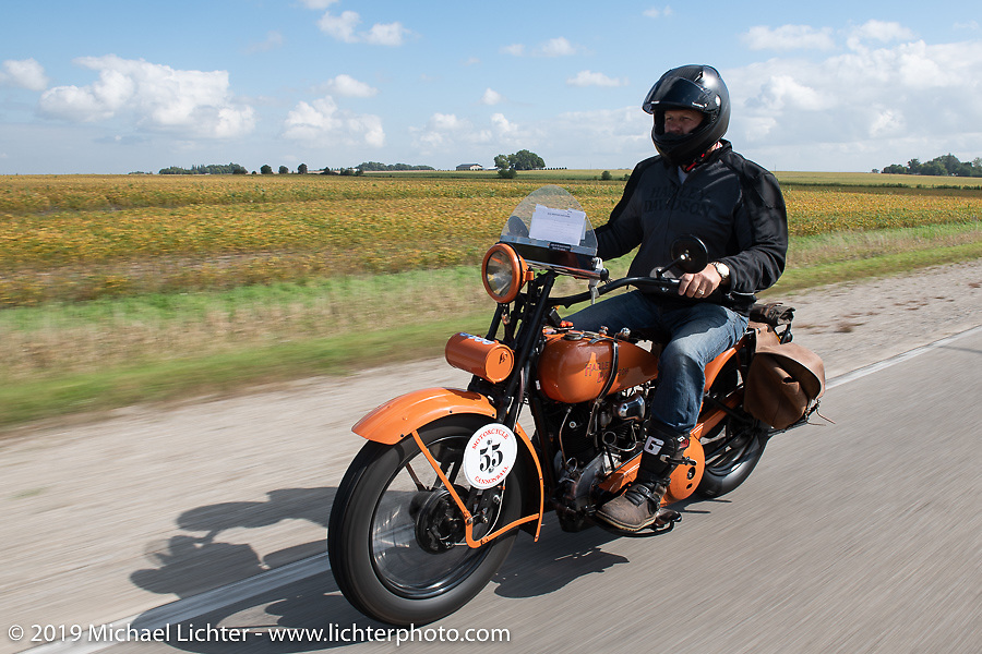 Pat Patterson riding his 1926 Harley-Davidson JD in the Motorcycle Cannonball coast to coast vintage run. Stage 7 (274 miles) from Cedar Rapids to Spirit Lake, IA. Friday September 14, 2018. Photography ©2018 Michael Lichter.