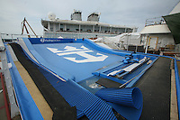 Oasis of the Seas at the shipyard in Turku, Finland where she is being built..Photos show Royal Caribbean's latest  ship 2 months before completion..The Flowrider, one of the two onboard