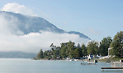 Aiguebelette, FRANCE, FRANCE,  Lake in the Misty low laying clouds.      2015 FISA World Rowing Championships, Venue, Lake Aiguebelette - Savoie. <br /> <br /> Sunday  06/09/2015  [Mandatory Credit. Peter SPURRIER/Intersport Images]. © Peter SPURRIER, Atmospheric, Rowing