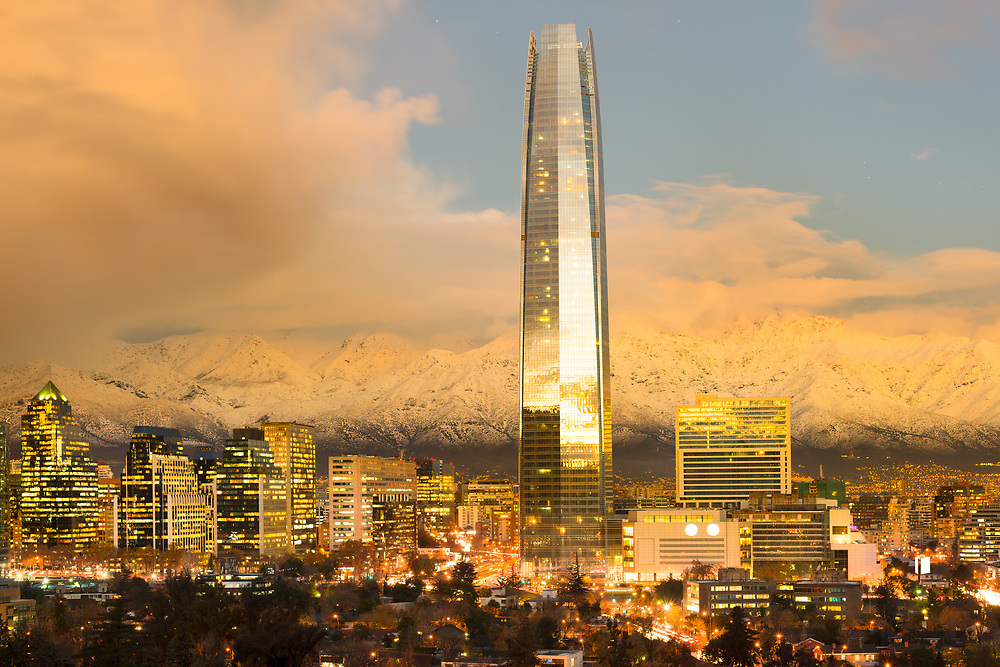 Skyline of financial district in Las Condes with The Andes Mountains in the back, Santiago de Chile