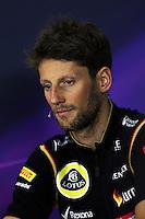 Romain Grosjean (FRA) Lotus F1 Team in the FIA Press Conference.<br /> Japanese Grand Prix, Thursday 2nd October 2014. Suzuka, Japan.