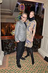 DAVID DOWNTON and JADE PARFITT at the Claridge's Christmas Tree By Dolce & Gabbana Launch Party held at Claridge's, Brook Street, London on 26th November 2013.