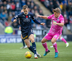 Falkirk's Deimantas Petravicius an dAyr United's Andy Murdoch. half time : Falkirk 0 v 0 Ayr United, Scottish Championship game played 3/11/2018 at The Falkirk Stadium.