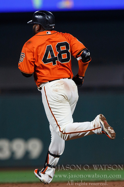 SAN FRANCISCO, CA - JULY 06: Pablo Sandoval #48 of the San Francisco Giants rounds the bases after hitting a home run against the St. Louis Cardinals during the sixth inning at AT&T Park on July 6, 2018 in San Francisco, California. The San Francisco Giants defeated the St. Louis Cardinals 3-2. (Photo by Jason O. Watson/Getty Images) *** Local Caption *** Pablo Sandoval