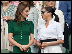July 13, 2019 - London, London, United Kingdom - Image licensed to i-Images Picture Agency. 13/07/2019. London, United Kingdom. Kate Middleton, the Duchess of Cambridge consoles Meghan Markle, the Duchess of Sussex after Serena Williams lost the Ladies Final on day twelve of the Wimbledon Tennis Championships in London. (Credit Image: © Stephen Lock/i-Images via ZUMA Press)