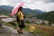 Lijcme is leaving school heading home down the mountain. Above Dhading, Pasupati School. Grade 9 and 10 have extra lessons in their summer break from 6am-10am to prepare them for their finals.