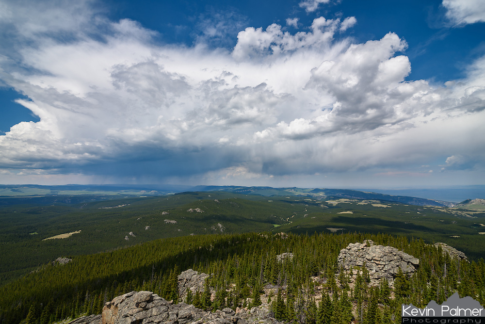 While on the summit of the 9,500 feet high Black Mountain, I watched this thunderstorm recede into the distance.