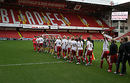 The Sheffield United Ladies team shake hands with the opposition before kick off during the FA Women's Cup First Round match at Bramall Lane Stadium, Sheffield. Picture date: December 4th, 2016. Pic Clint Hughes/Sportimage