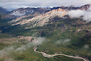 Aerial view of the Chitistone River and Gorge from a Wrangell Mountain Air bush plane flight in Wrangell-St. Elias National Park, Alaska.