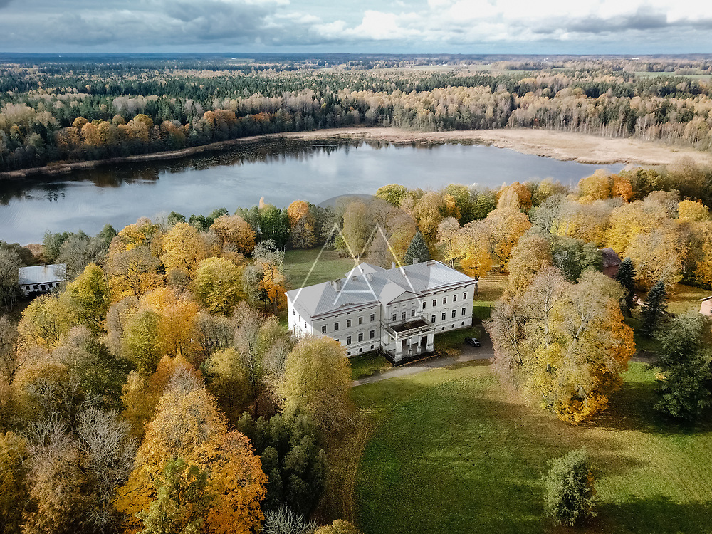 Aerial view of abandoned manor in Plinkšiai, Lithuania