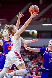 NORMAL, IL - January 05: Mary Crompton leans in on a lay up while doubled on by Sydney Tucker and Abby Feit during a college women's basketball game between the ISU Redbirds and the Purple Aces of University of Evansville January 05 2020 at Redbird Arena in Normal, IL. (Photo by Alan Look)
