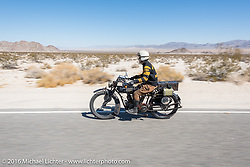 Yoshimasa Niimi of Japan riding his 1915 Indian through the California desert during the Motorcycle Cannonball Race of the Century. Stage-14 ride from Lake Havasu CIty, AZ to Palm Desert, CA. USA. Saturday September 24, 2016. Photography ©2016 Michael Lichter.