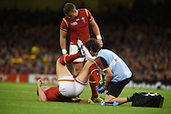 Cory Allen of Wales  receives treatment for an injury. Rugby World Cup 2015 pool A match, Wales v Uruguay at the Millennium Stadium in Cardiff, South Wales  on Sunday 20th September 2015.<br /> pic by  Andrew Orchard, Andrew Orchard sports photography.