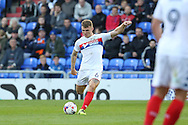 Max Power of Wigan Athletic tries a shot from distance during the EFL Cup match between Oldham Athletic and Wigan Athletic at Boundary Park, Oldham, England on 9 August 2016. Photo by Simon Brady.