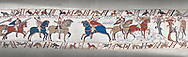 Bayeux Tapestry scene 49:  As he advances Duke William is told where the Saxon army is. .<br /> <br /> If you prefer you can also buy from our ALAMY PHOTO LIBRARY  Collection visit : https://www.alamy.com/portfolio/paul-williams-funkystock/bayeux-tapestry-medieval-art.html  if you know the scene number you want enter BXY followed bt the scene no into the SEARCH WITHIN GALLERY box  i.e BYX 22 for scene 22)<br /> <br />  Visit our MEDIEVAL ART PHOTO COLLECTIONS for more   photos  to download or buy as prints https://funkystock.photoshelter.com/gallery-collection/Medieval-Middle-Ages-Art-Artefacts-Antiquities-Pictures-Images-of/C0000YpKXiAHnG2k