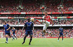 Nacho Monreal of Arsenal crosses the ball - Mandatory by-line: Arron Gent/JMP - 28/07/2019 - FOOTBALL - Emirates Stadium - London, England - Arsenal v Olympique Lyonnais - Emirates Cup