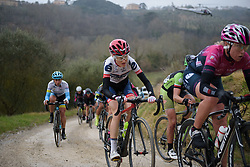 Marie Villmann (Cervélo Bigla) on the penultimate gravel sector at Strade Bianche - Elite Women. A 127 km road race on March 4th 2017, starting and finishing in Siena, Italy. (Photo by Sean Robinson/Velofocus)